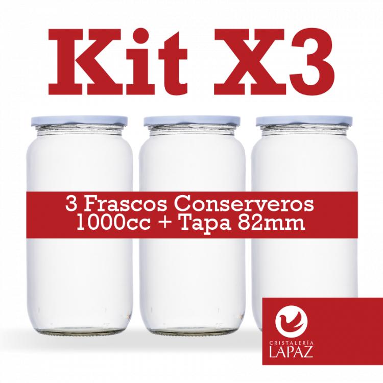 Kit X3 Frasco Conserva 1000cc + Tapa...